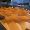 Sinuous orange art installation in the Berkeley Art musuem on campus in Berkeley, California