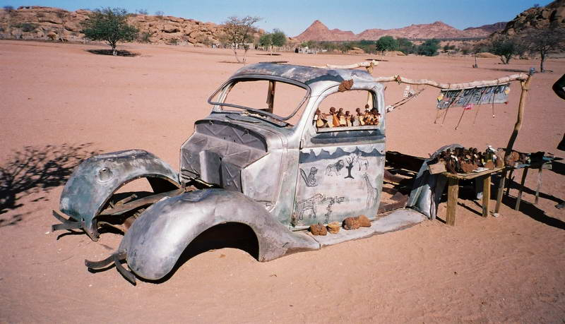 Curio stall in the desert west of Etosha