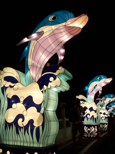 Flipper keynotes the annual lantern festival at the Chinese Gardens in Singapore.