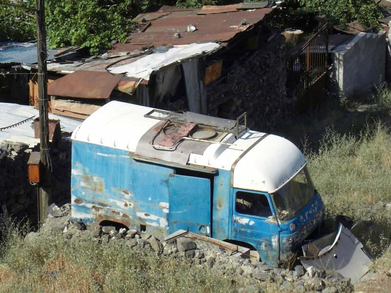 Casual living arrangements in the valley below Sarkis Parajanian' s museum in Yerevan Armenia.