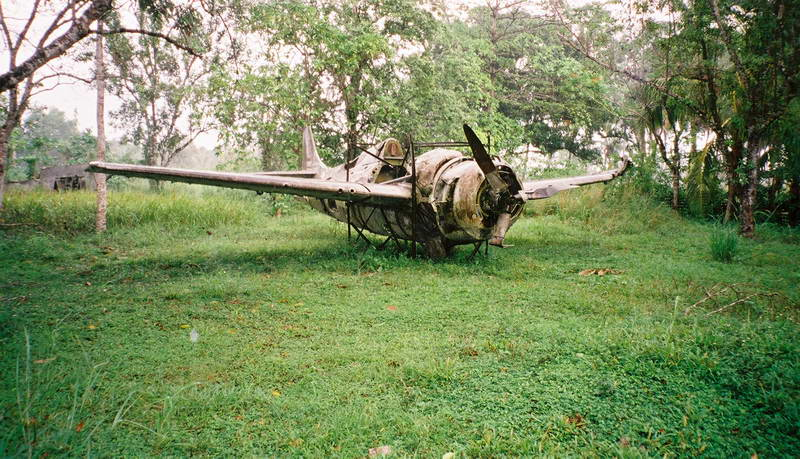 Downed Japanese fighters outside of Honiara, Guadalcanal, Solomon Islands.