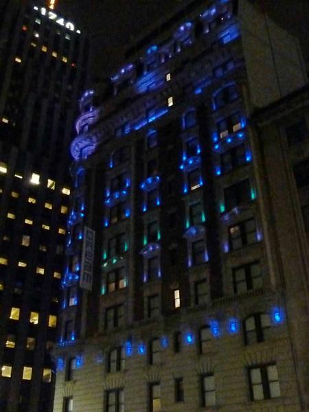 LED building lighting detail in New York City