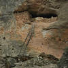 Ladder approach to the cave storage areas above the christian areas of Ma'aloula in Syria.