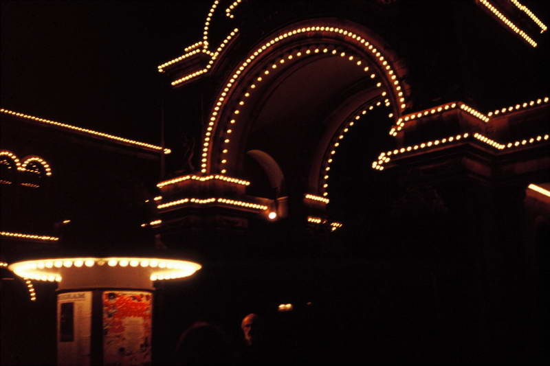 Tivoli gardens at night in Copenhagen Denmark.