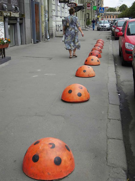 King size lady bugs adorn the street in St Petersburg, Russia.