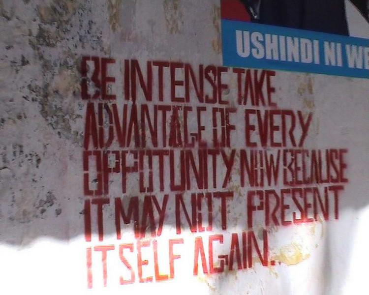 Misspelled words of wisdom from a market wall in Zanzibar, Tanzania.