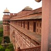 Exterior of the Red Fort in Agra India.