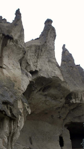 Towering rock forms in the Zelve open air museum in Kapydokia, Turkey.