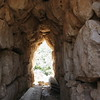 Emerging from a tomb in Mycenae, Peloponnese Greece.