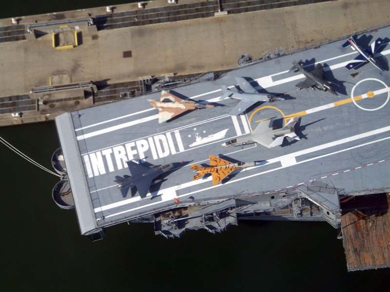 The Interpid aircraft carrier as seen from helicopter in New York