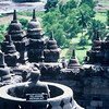 Classic stupas at Borobudor before commercialization, (Central Java, Indonesia).