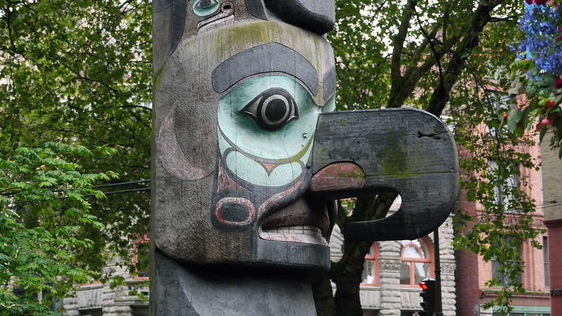 Totem pole detail in Pioneer Square - Seattle, Washington