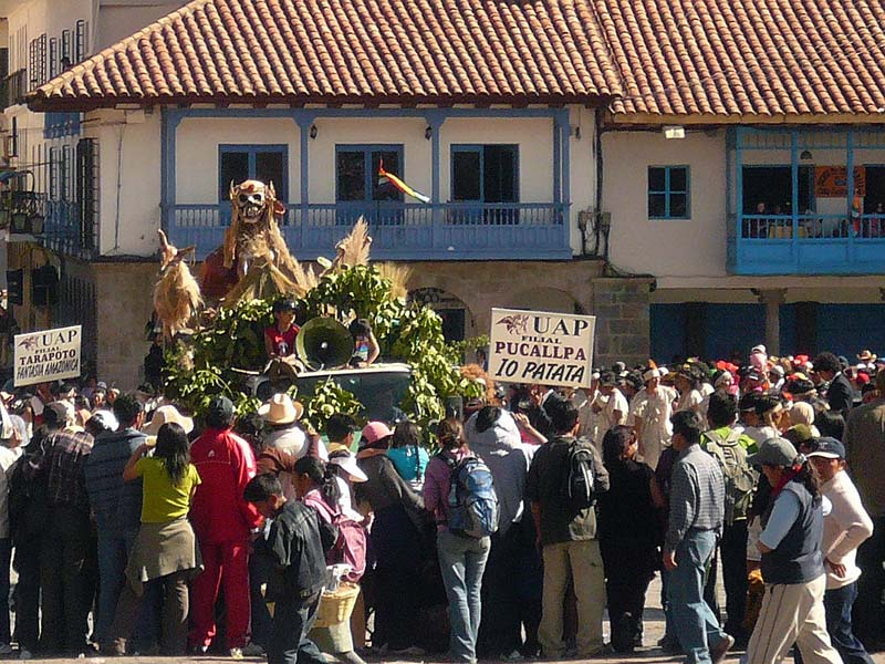 The first of the effigies arrives for the Inti Raymi parade in Cuzco, Peru.