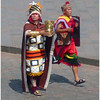 The high priests command our attention at the city square parade in Cuzco Peru during Inti Raymi.