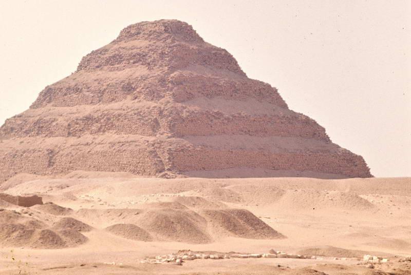 Sakkara seen from horseback on the way to Memphis, Egypt.