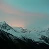 Last rays of sun on Mount Blanc, France