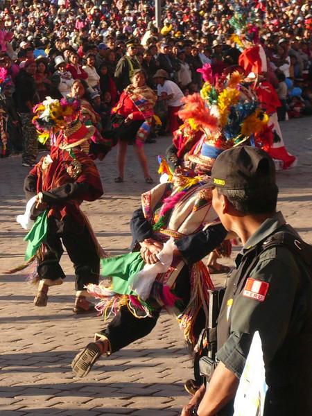Street dancers parade during Inti Raymi in Cuzco, Peru.