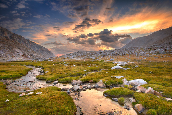 A stream near Guitar Lake along the John Muir Trail at sunset.