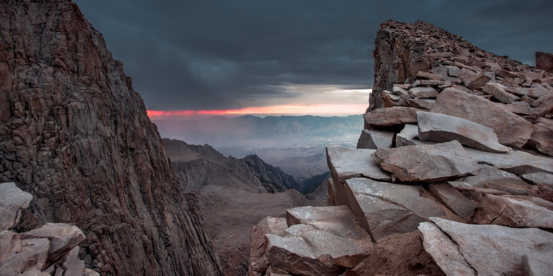 A look between Keeler Needle and Mt. Whitney at the storm that forced us to retreat from the summit in a hurry.