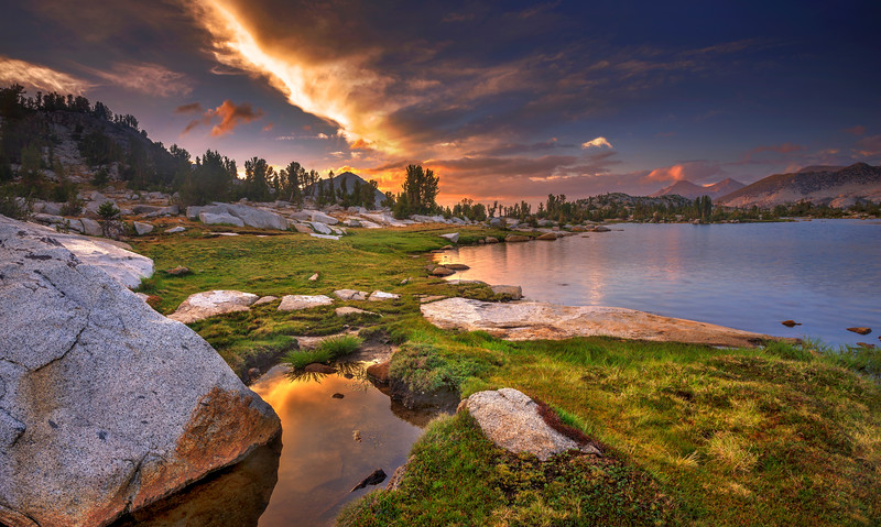 Marie Lakes at sunset along the John Muir Trail.
