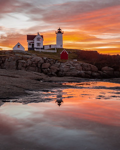 Sunrise Reflection at Nubble Light