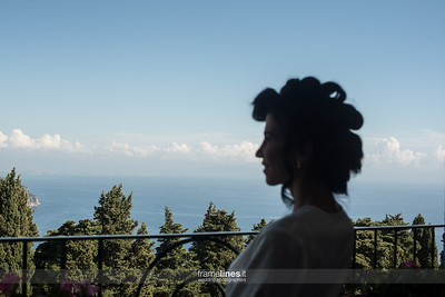 Bride Getting Ready with Coastal View, Villa Cimbrone, Ravello, Italy