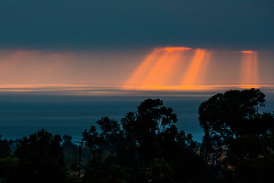 Sunset through the clouds. Encinitas, California