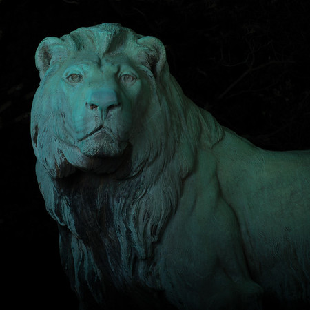 Lion Statue at Night. Southborough, Massachusetts