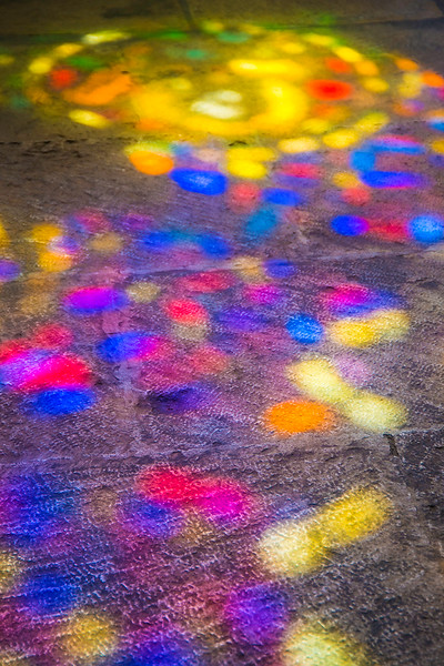 Light from a stained glass window. Lisbon, Portugal