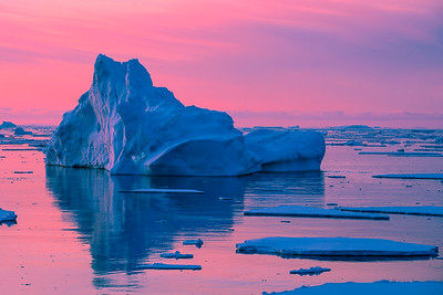 Pink sunset. Antarctica
