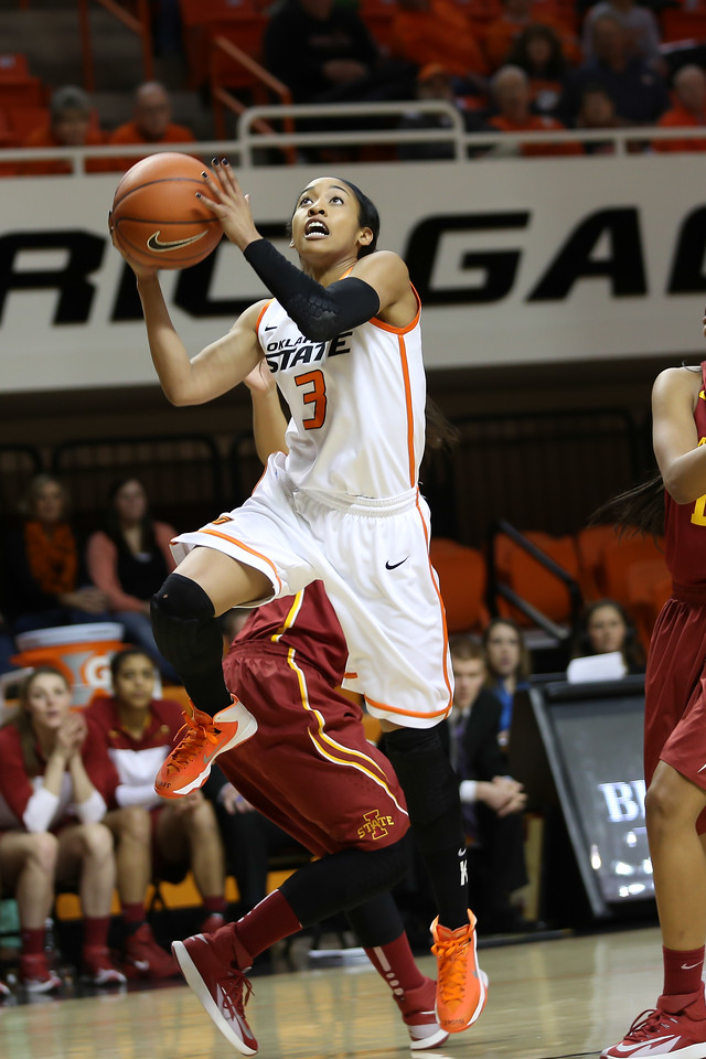 Oklahoma State University Cowgirls vs. Iowa State Cyclones in NCAA Women's Basketball in Stillwater, OK on February 26, 2014. Photos by Mitchell Alcala/Ostatephoto.com