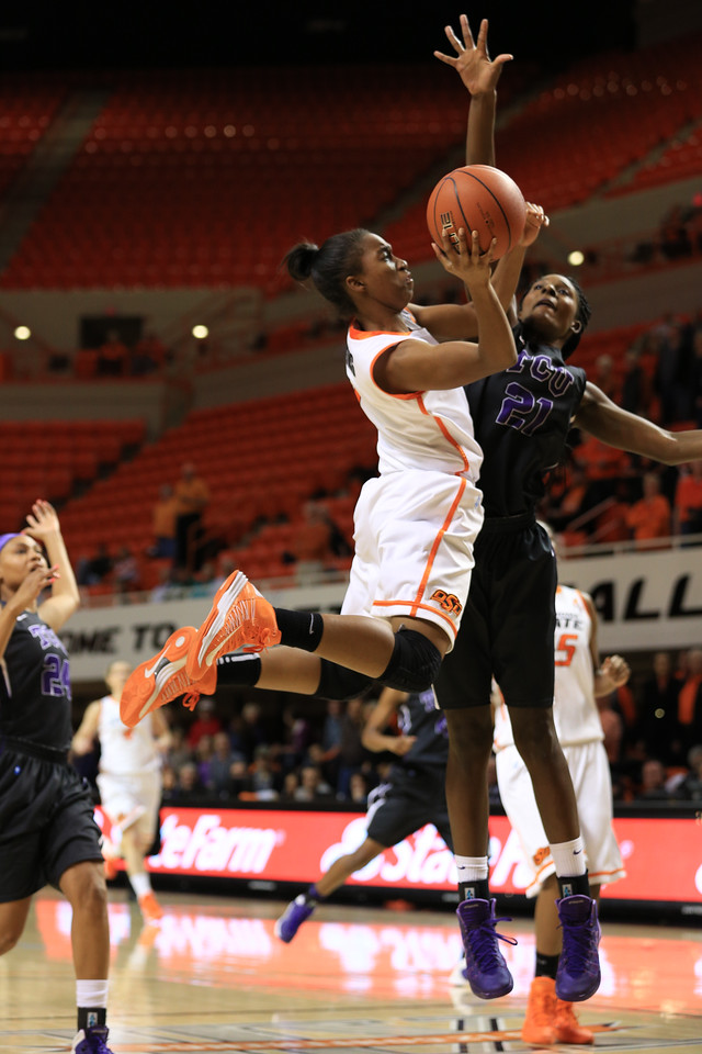 Oklahoma State University women's basketball team vs the TCU Horned Frogs in NCAA cowgirl basketball on Jan. 14, 2014 in Stillwater, Ok. Photos by Mitchell Alcala/Ostatephoto.com