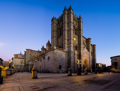 Avila Cathedral at dusk