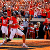 The Oklahoma State University Cowboys vs the West Virginia Mountaineers  in NCAA Football In Boone Pickens Stadium on October 29, 2016. Photos by Mitchell Alcala