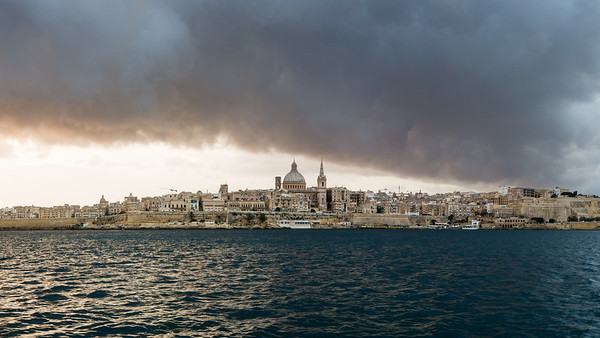 Storm clouds at dawn over Valletta