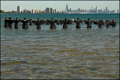 Coptic Christians Immerse in Lake Michigan