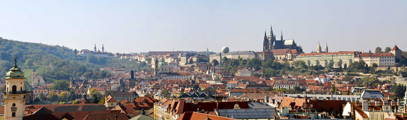 Prague. This is a three frame photograph of the Prague Castle area taken from the top of the Town Hall Tower in the Old Town Square.