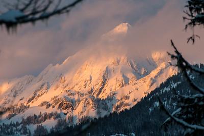 Late light on an opposing peak.