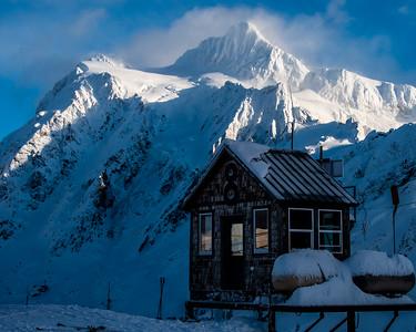 Ski Patrol warming hut at the top of Chair 8.