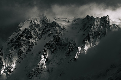 Mt. Shuksan covered by storm clouds