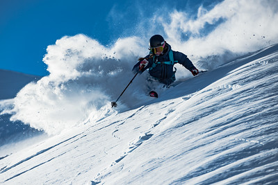 Finally able to see the terrain of Mt Baker, Gabriella Edebo wastes no time in playing in the waste deep powder.