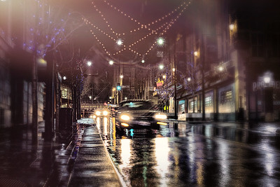 Approaching Car in Rain
