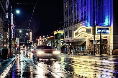 Car on Main in Rain