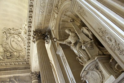 Beautiful Carved Statue and Ceiling Work at the Chateau de Versailles