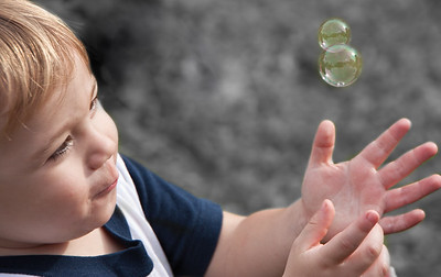 Small child and bubbles