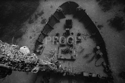 Bow section of the El Agulia wreck (B&W)