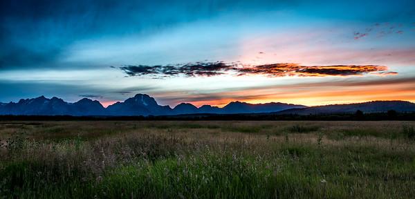 Sunset over Grand Teton range (pulled over at roadside)