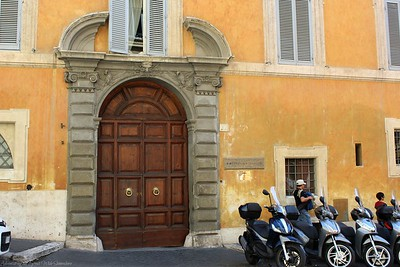 Motorcyles and Elaborate Doors on the Streets of Rome, Italy