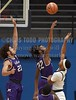 Millsaps' Tysin Meads (23) and James Turner (22) try to block the shot by JSU's Julian Daughtry (3) on Friday, November 10, 2017, at Jackson State University in Jackson, Miss.