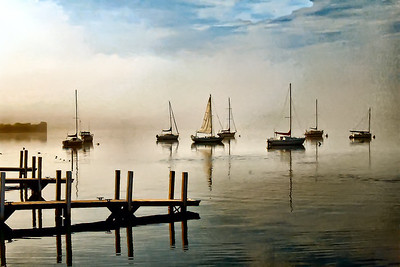 Frankfort Michigan early morning mist